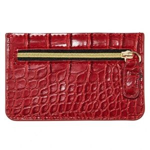 NEW! B-low the Belt Red Croc Card Case
